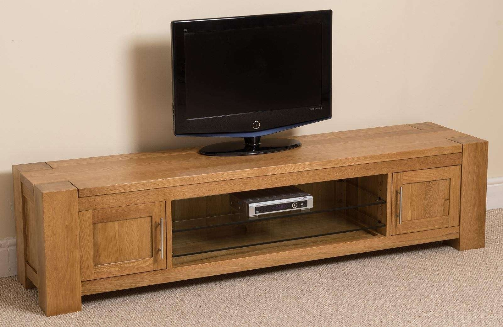 Kuba Solid Widescreen Tv Cabinet | Oak Furniture King With Regard To Wide Screen Tv Stands (View 6 of 15)