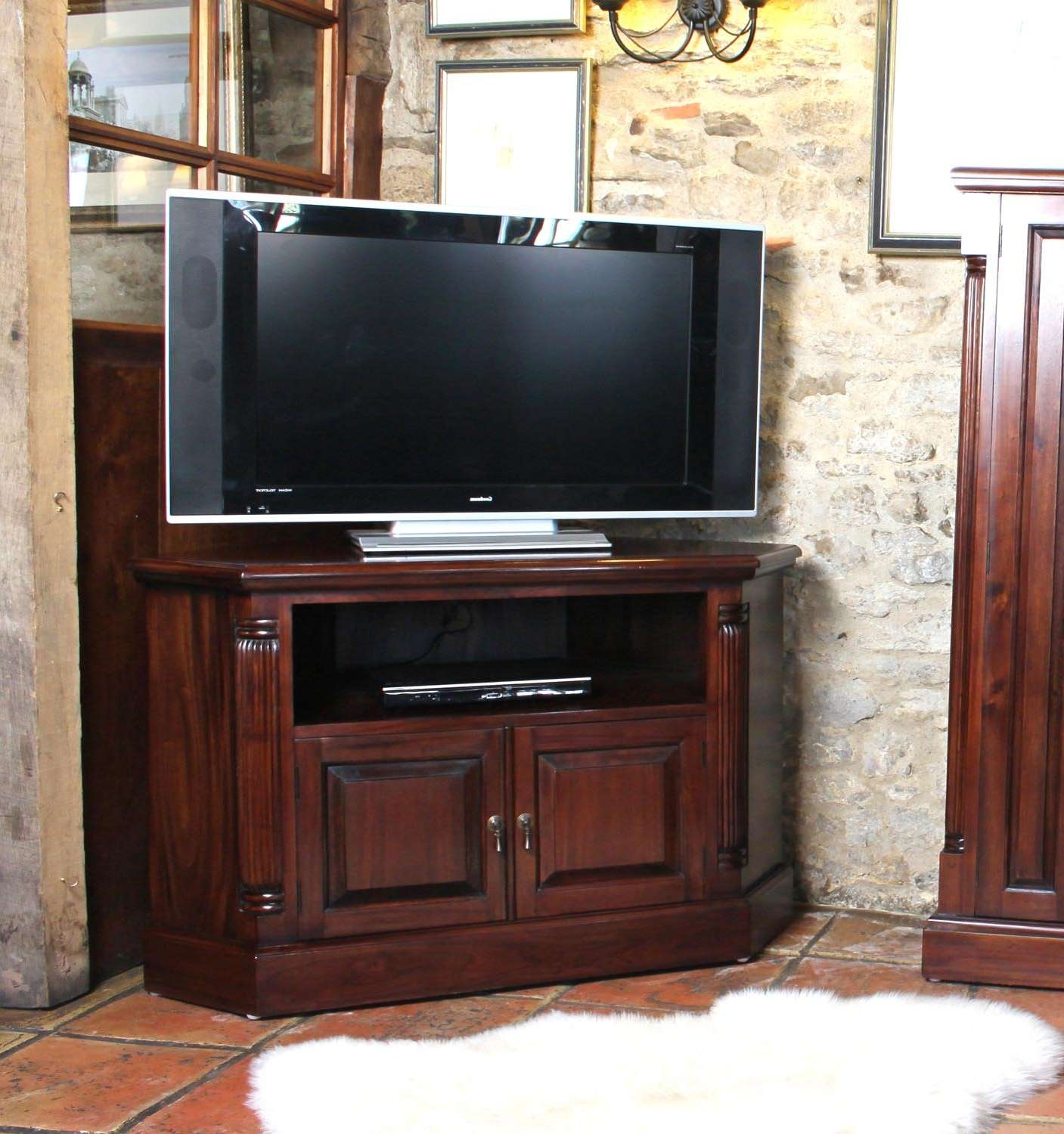 La Roque Mahogany Corner Television Cabinet (Imr09B) Throughout Mahogany Corner Tv Cabinets (View 12 of 20)