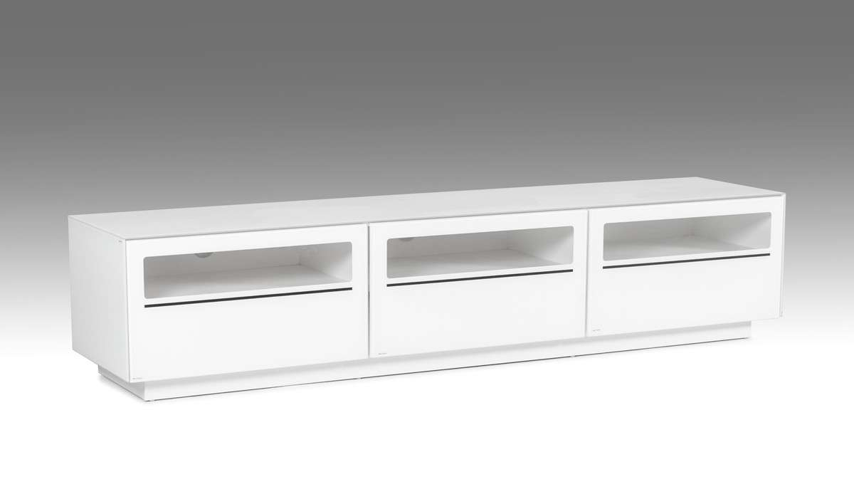 Landon Contemporary White Tv Stand Regarding Modern White Lacquer Tv Stands (View 8 of 15)