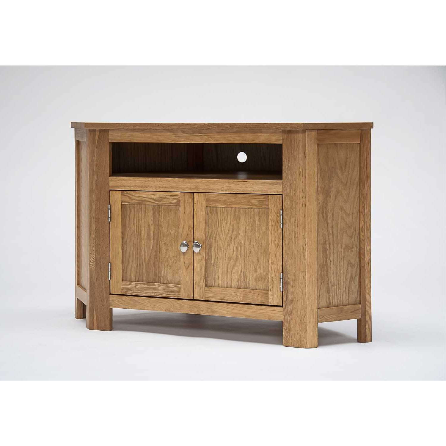 Lansdown Oak Corner Tv Cabinet With Cupboard For Corner Tv Cabinets (View 16 of 20)
