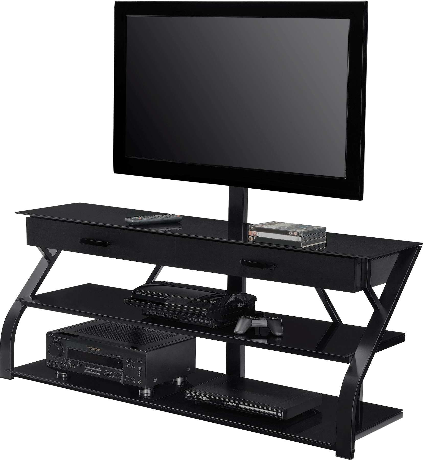 Large Black Tone Media Console With Storage Drawers Of Gorgeous With Regard To Swivel Black Glass Tv Stands (View 4 of 15)
