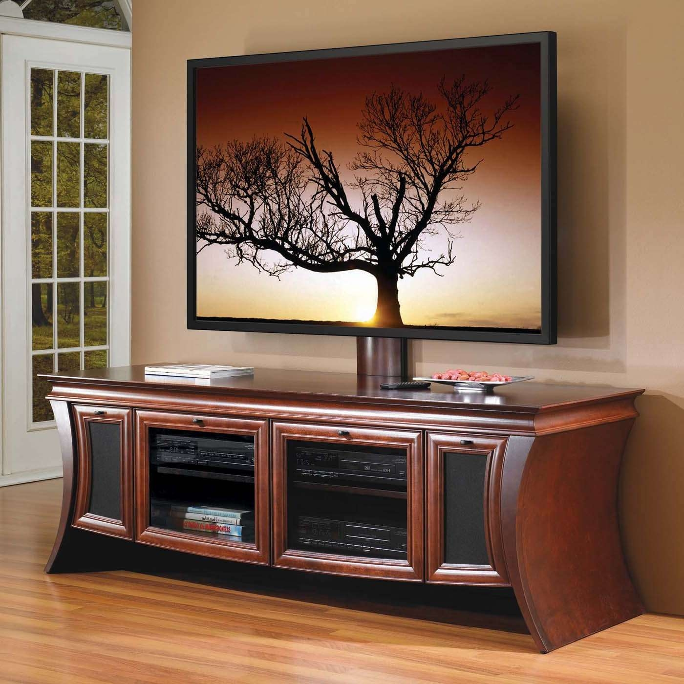 Large Brown Lacquered Mahogany Wood Media Console With Glass Doors With Regard To Maple Tv Stands For Flat Screens (View 1 of 15)