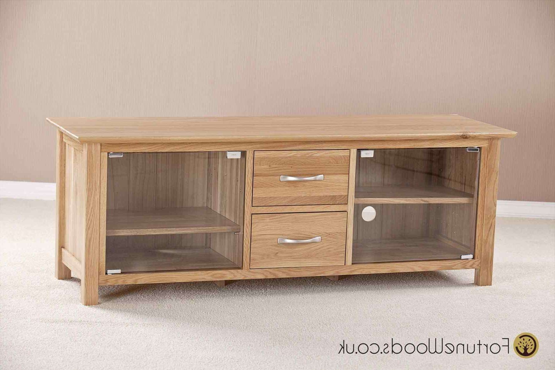 Large Oak Tv Cabinet With Glass Doors Unit Bedroom Lacquered Wood In Large Oak Tv Stands (View 6 of 15)