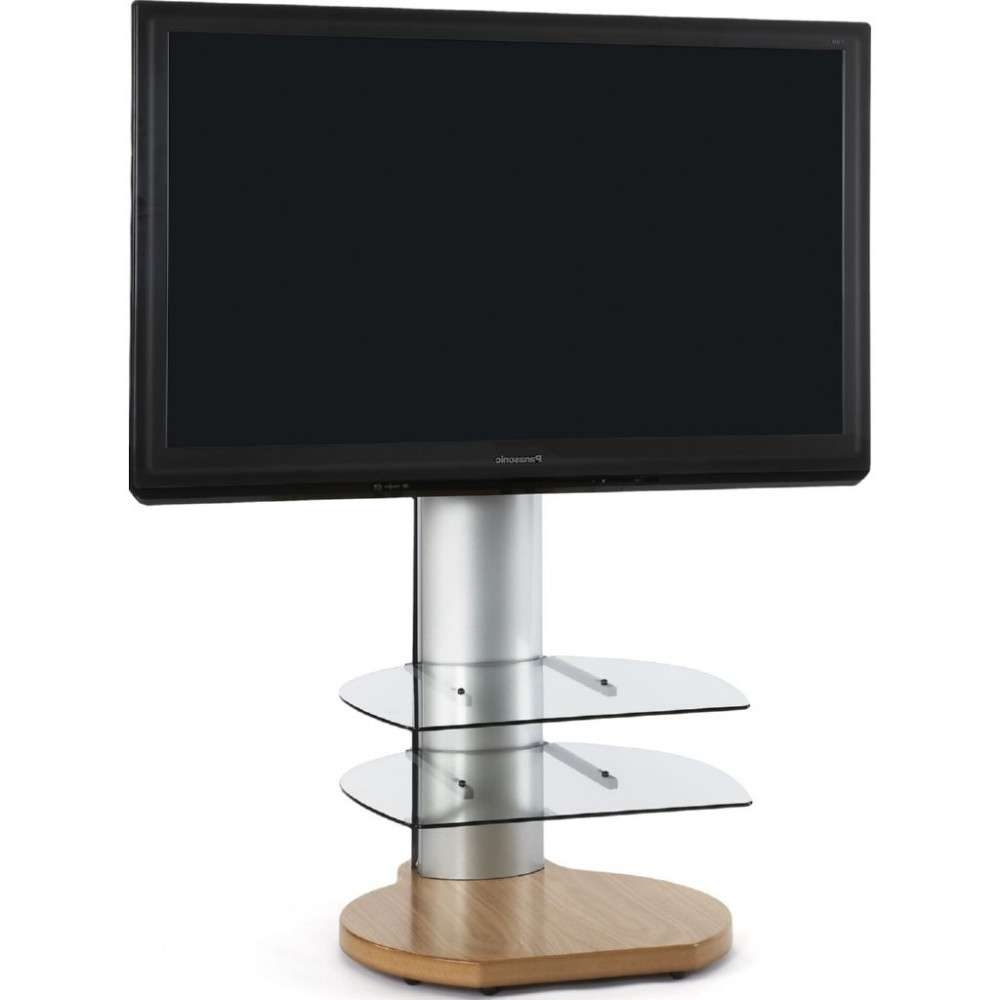 Large Round Dark Wood Oak Tv Stand Clear Glass Shelves Regarding Off The Wall Tv Stands (View 9 of 15)