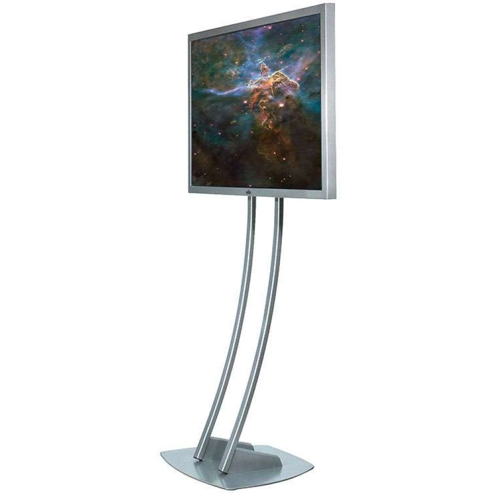 Large Silver High Lcd Tv Stand Glass Shelf High Quality Throughout Slim Tv Stands (View 4 of 20)