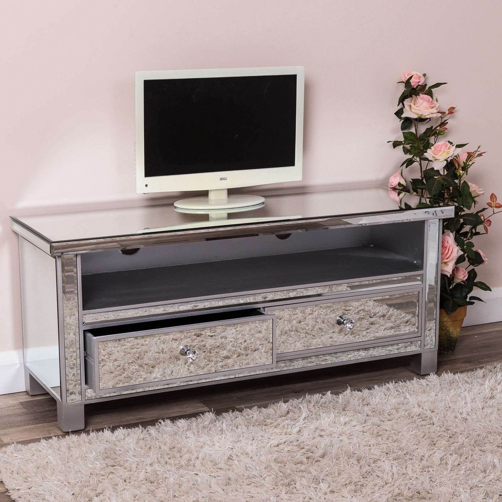 Large Silver Venetian Mirrored Glass 2 Drawer Widescreen Tv Unit Within Silver Tv Stands (View 6 of 15)
