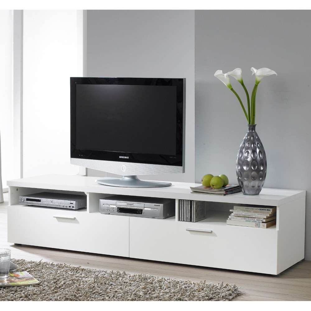 Large White Media Cabinet Engineered Wood Construction 3 Open For Low Profile Contemporary Tv Stands (View 5 of 20)
