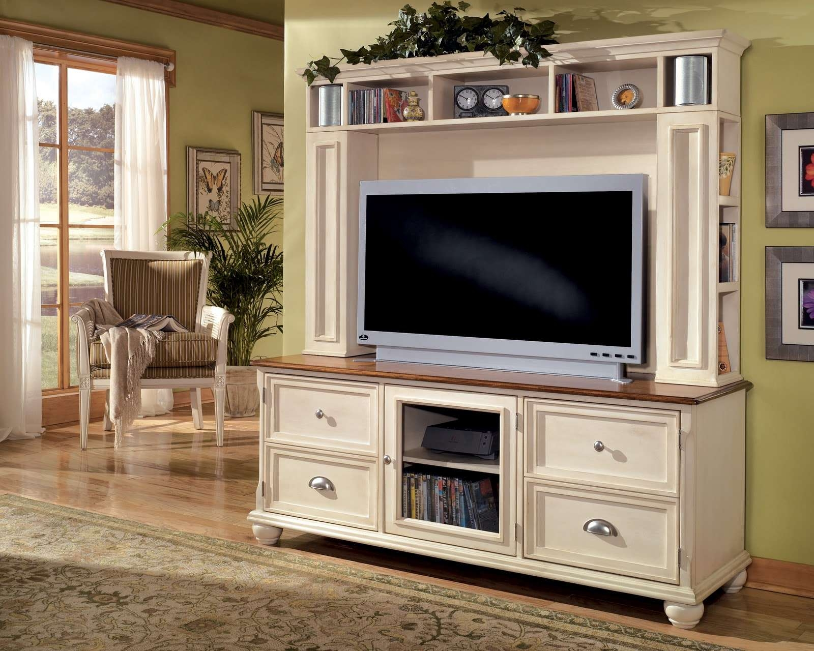 Large White Wooden Tall Tv Stand For Bedroom With Racks And With Large White Tv Stands (View 7 of 15)