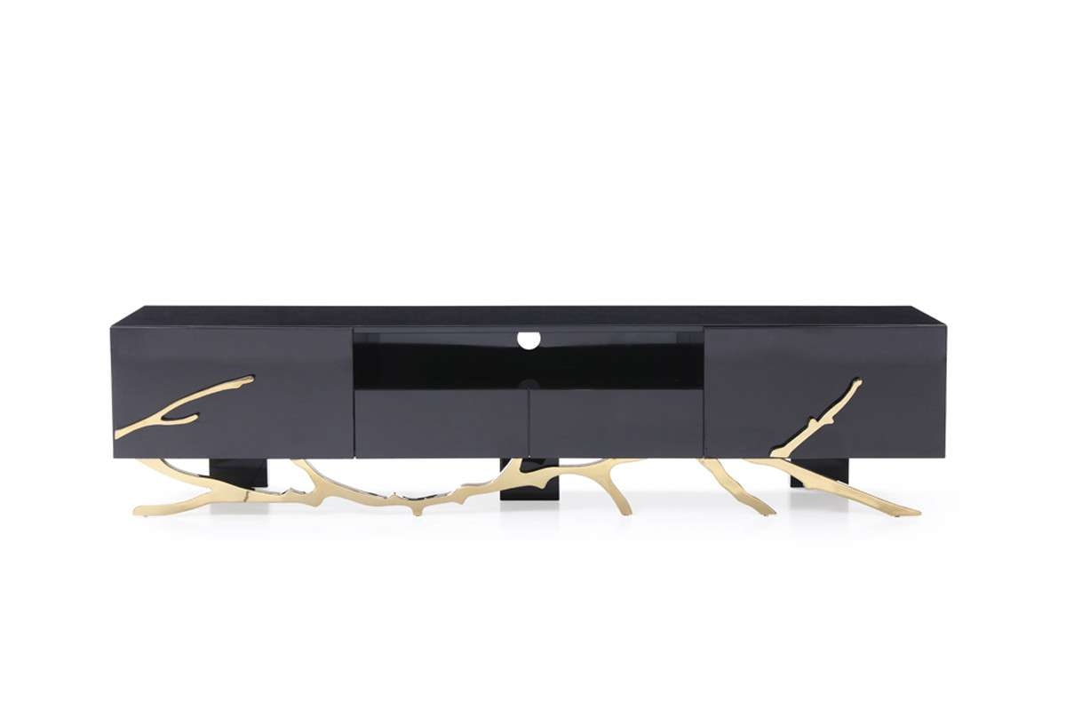 Legend Modern Black & Gold Tv Stand With Modern Black Tv Stands (View 11 of 20)