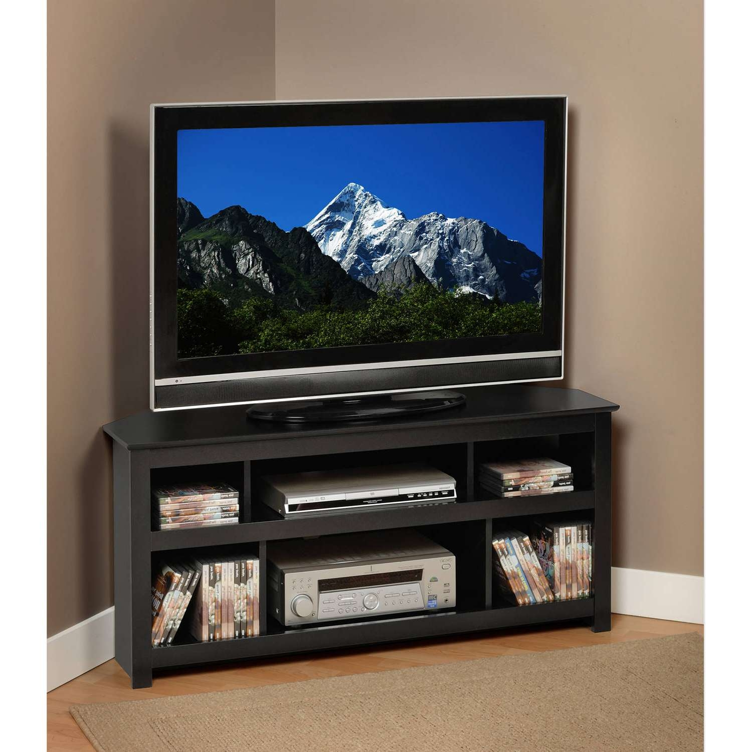 """Leick Home Black Rub 46"""" Corner Tv Stand – Walmart With Regard To Low Corner Tv Stands (View 19 of 20)"""