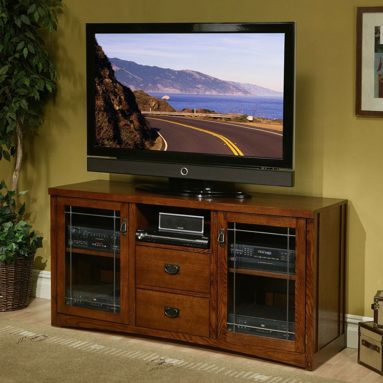 Light Brown Varnished Oak Wood Media Stand With Storage Shelf And Pertaining To Light Brown Tv Stands (View 11 of 20)