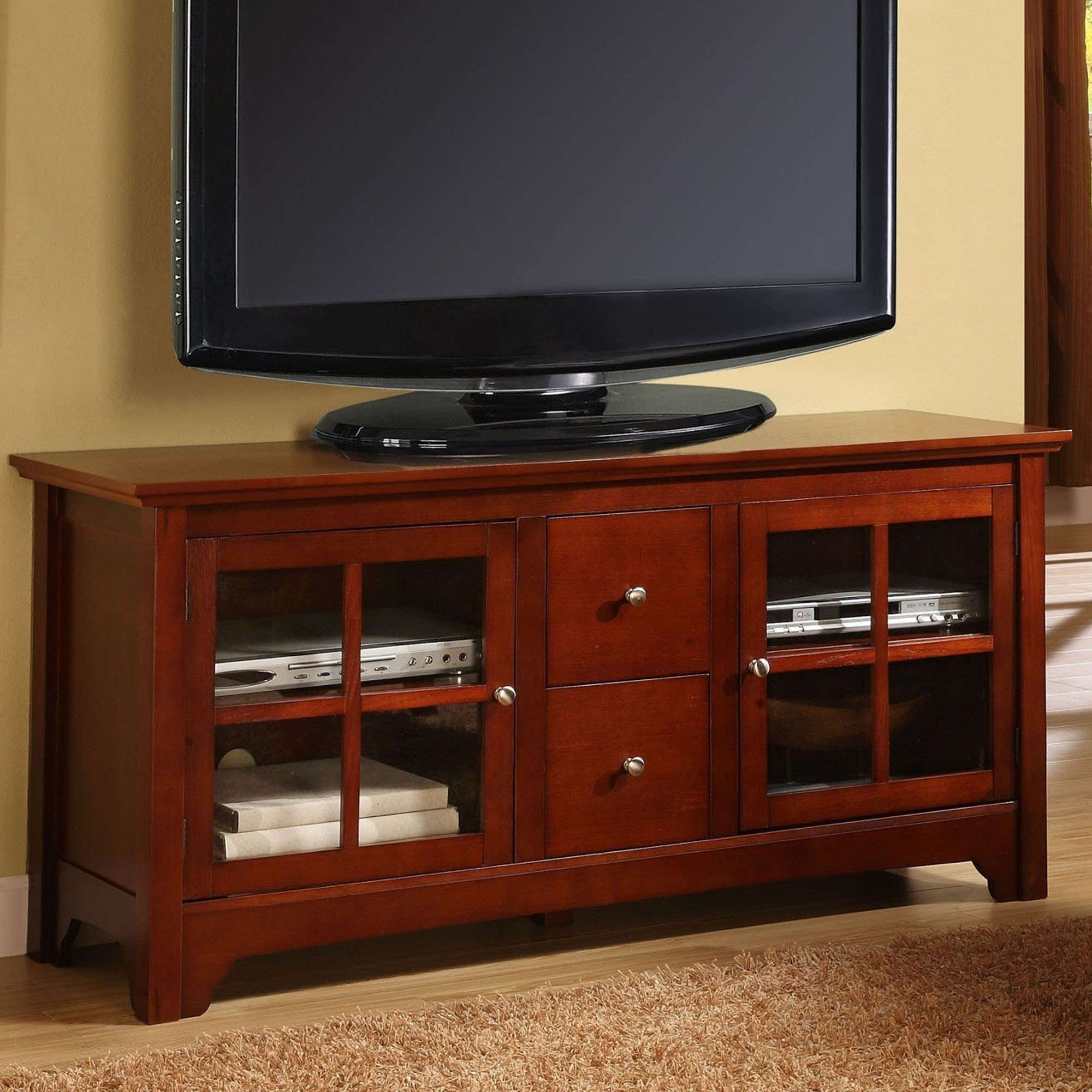 Light Brown Wooden Tv Stand With Long Shelf On The Top Plus 2017 Throughout Light Brown Tv Stands (View 11 of 20)