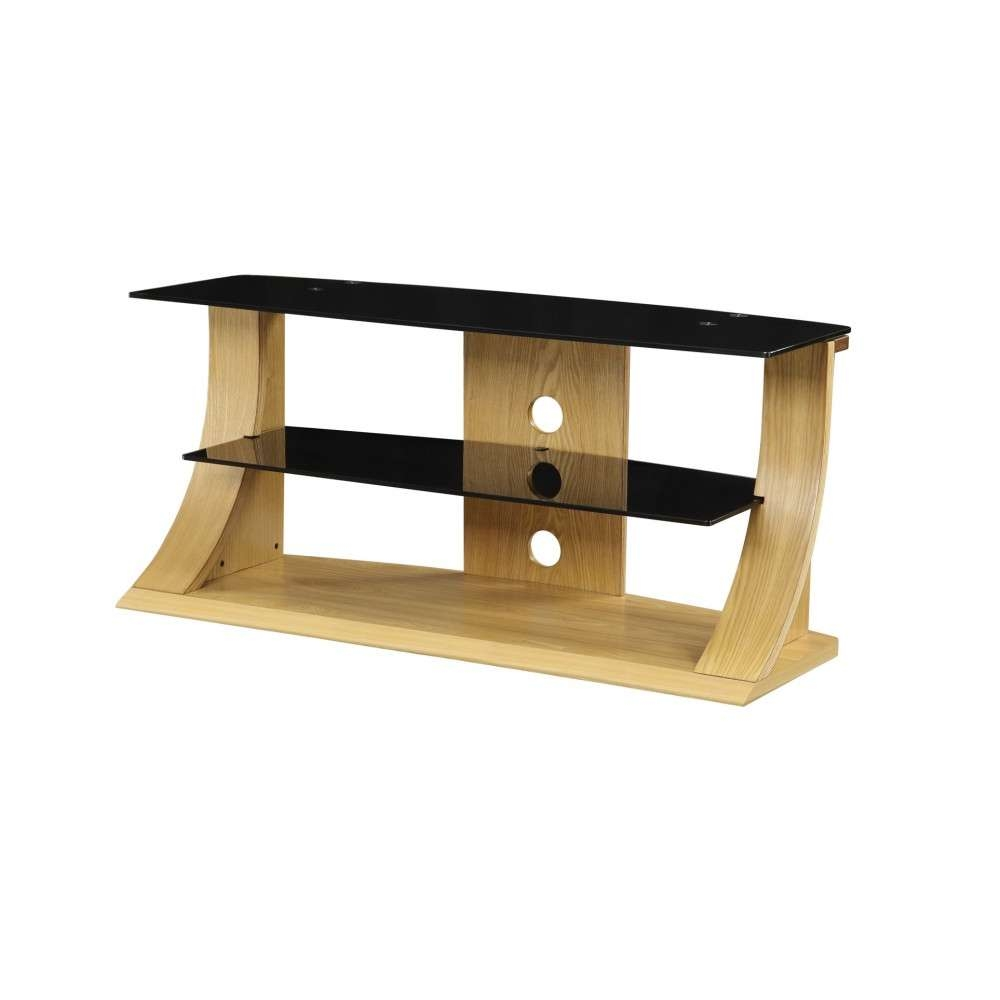 Light Modern Stylish Wooden Veneer Oak Tv Stand Glass With Regard To Wood Tv Stands With Glass (View 4 of 15)