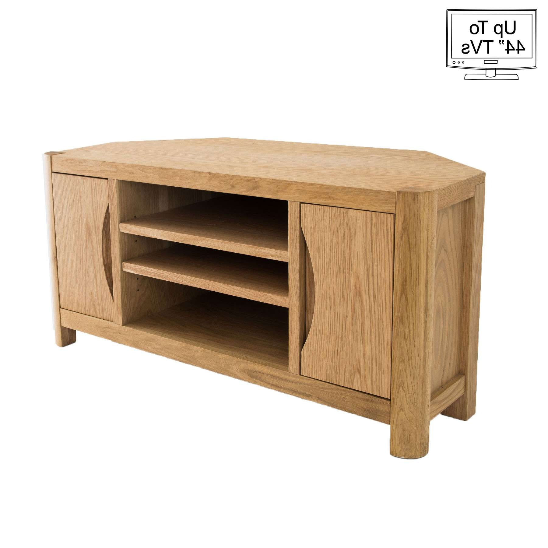 "Light Oak Corner Tv Stand For Up To 44"" Tvs Intended For Light Oak Corner Tv Cabinets (View 2 of 20)"