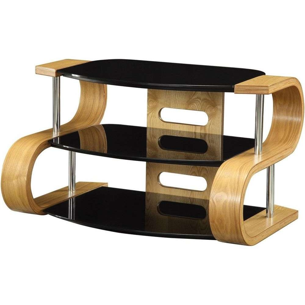 Light Oak Wooden Tv Stand 3 Tier Black Glass Shelves With Regard To Glass And Oak Tv Stands (View 9 of 15)