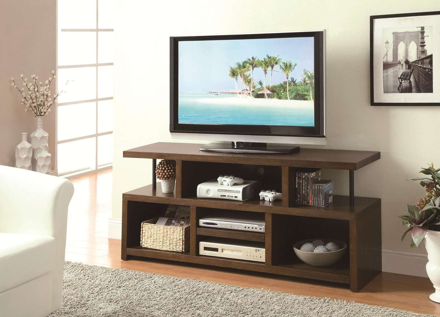 Light Wood Tv Stand Simple Room With Ikea Besta Media Cabinet Of For Open Shelf Tv Stands (View 15 of 15)