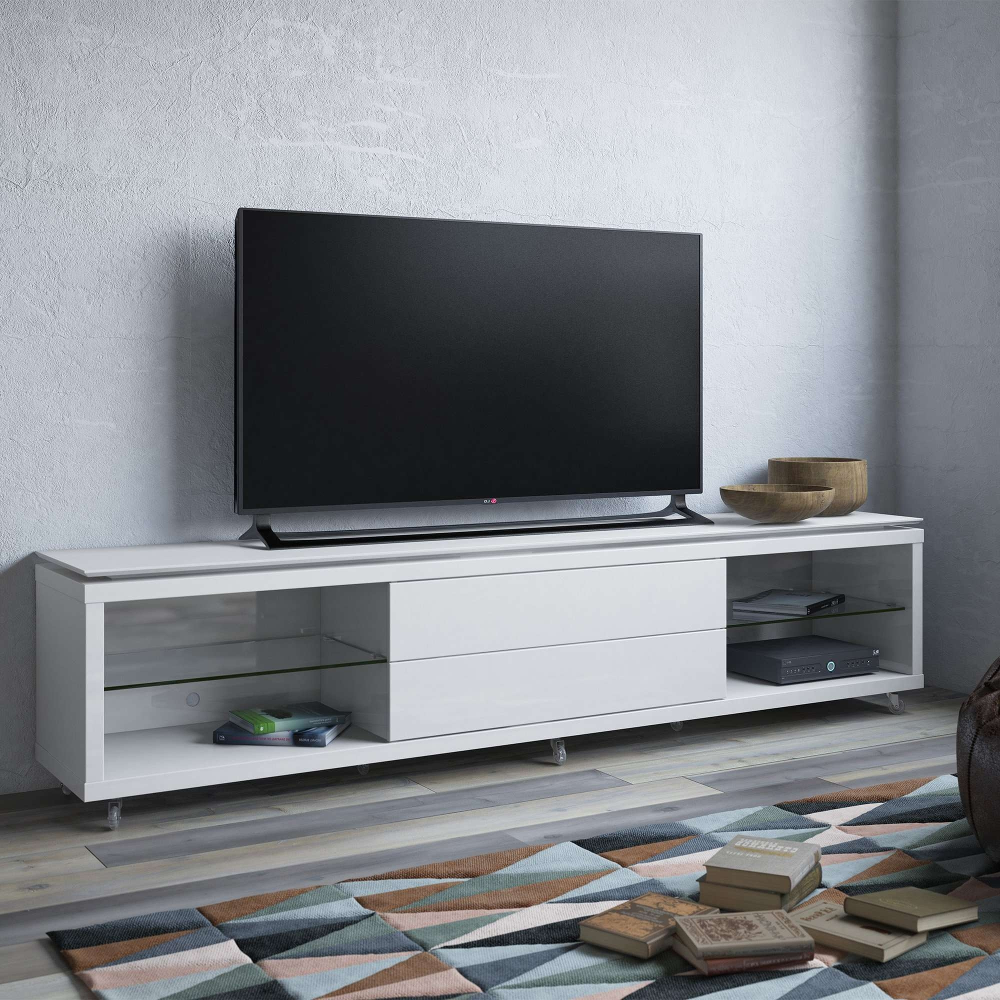 Lincoln White Gloss Tv Stand W/silicon Casters (View 14 of 15)
