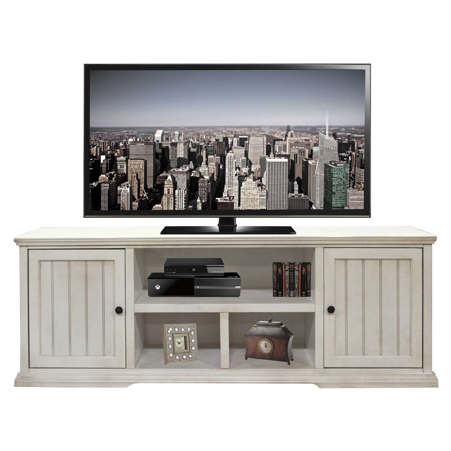Living ~ Flat Panel Tv Cart Movable Tv Stand Living Room Furniture Within Rustic White Tv Stands (View 11 of 15)