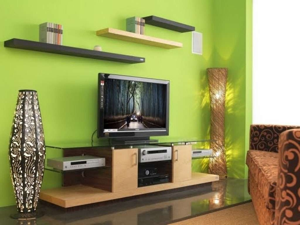 Living ~ Lcd Tv Shelf For Cable Box Under Wall Mounted Tv Tv Within Green Tv Stands (View 7 of 15)