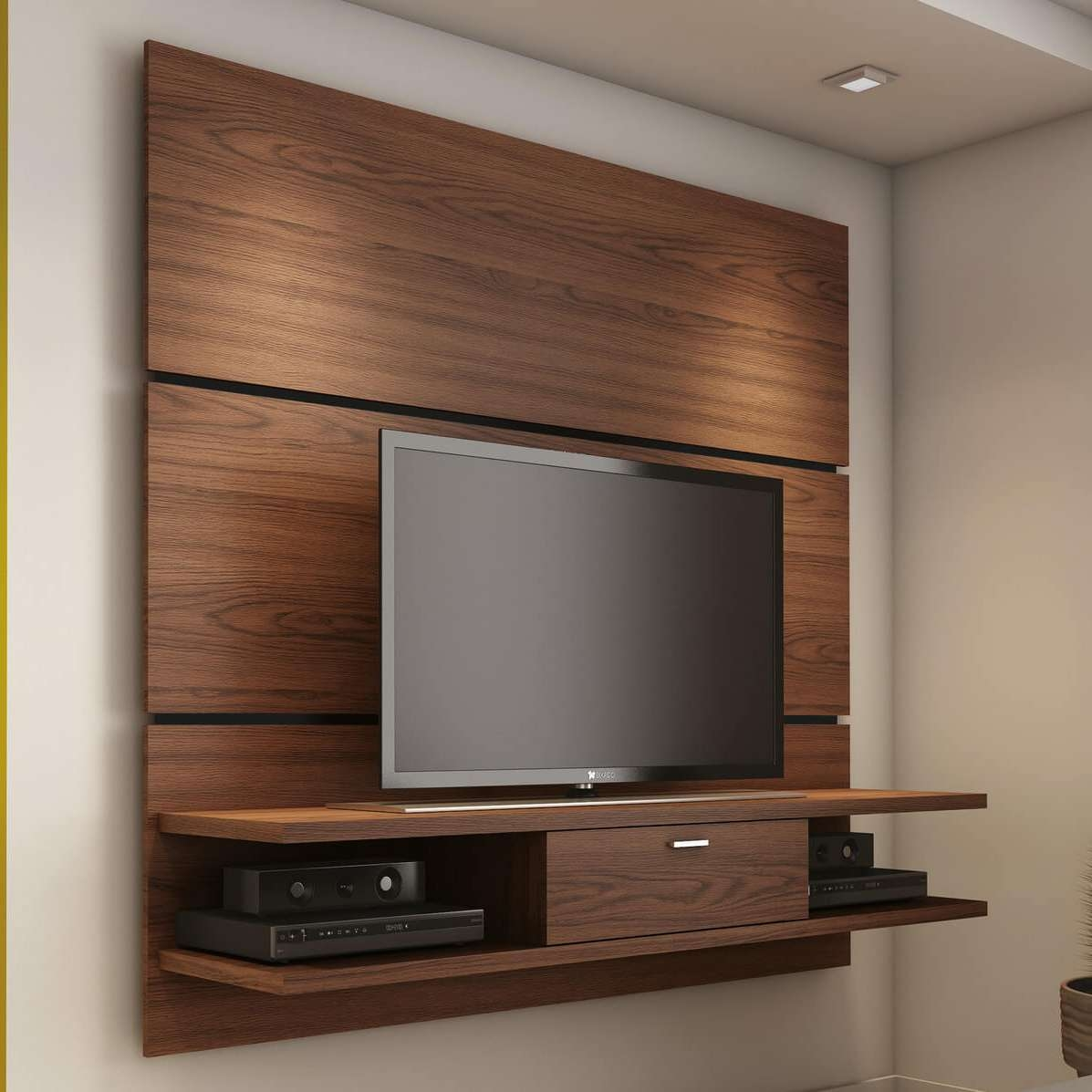 Living Room: Awesome Wood Tv And Desk Wall Units Mounted Tv Stand Within Tv Stands Wall Units (View 5 of 15)