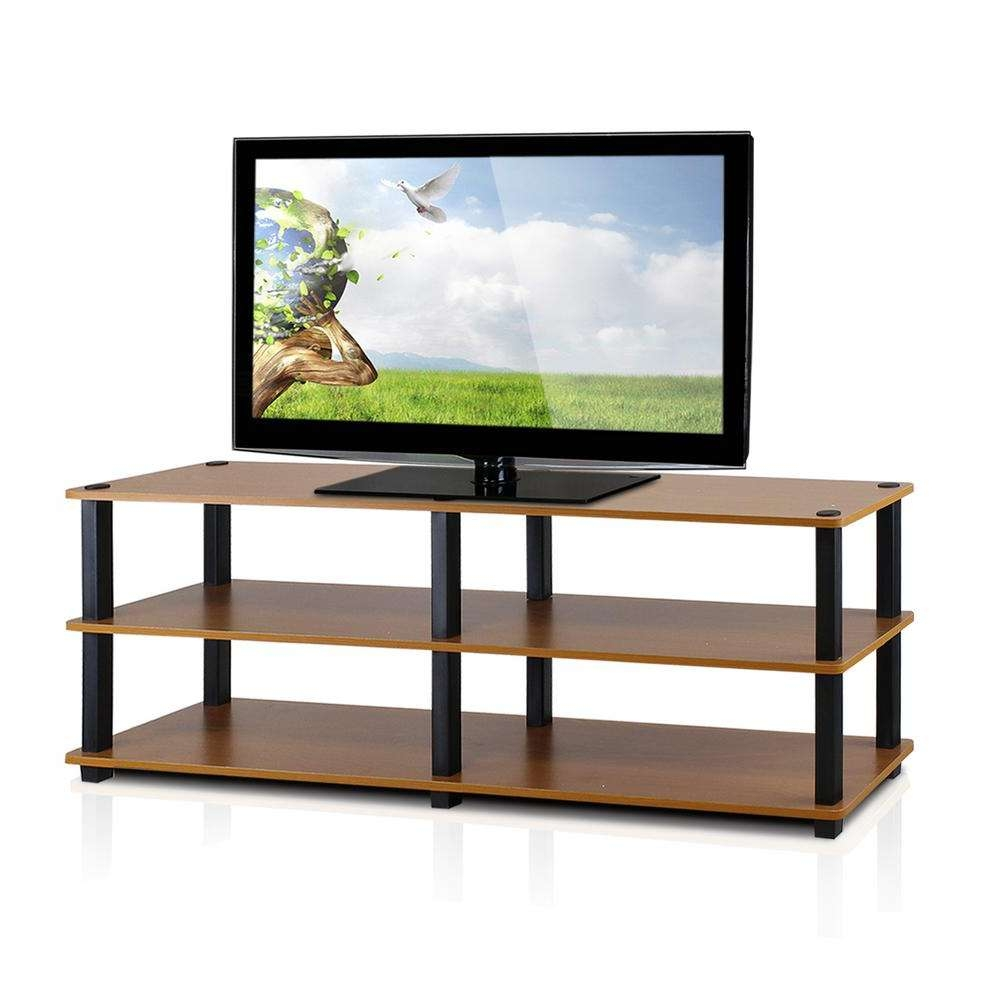 Llytech Inc Turn S Tube Light Cherry 3 Shelf Tv Stand Tv14038Lc/bk Throughout Light Cherry Tv Stands (View 7 of 15)