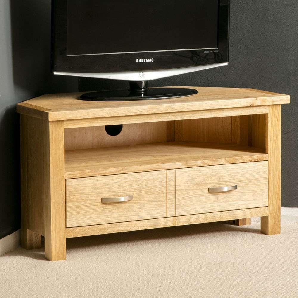 London Oak Corner Tv Stand / Plasma Tv Cabinet / Solid Wood Tv Throughout Wooden Corner Tv Stands (View 4 of 15)
