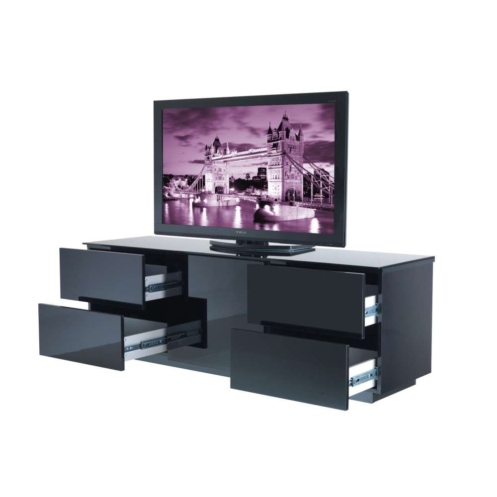 London Tv Cabinet Delivered Throughout The Uk For Black Tv Stands With Glass Doors (View 8 of 15)