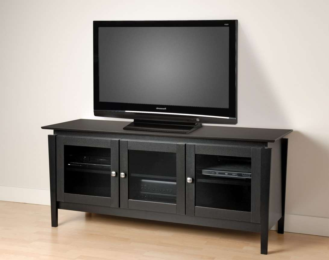 Long Black Wooden Tv Stand With Three Storage Having Glass Doors Pertaining To Modern Tv Stands For Flat Screens (View 9 of 15)