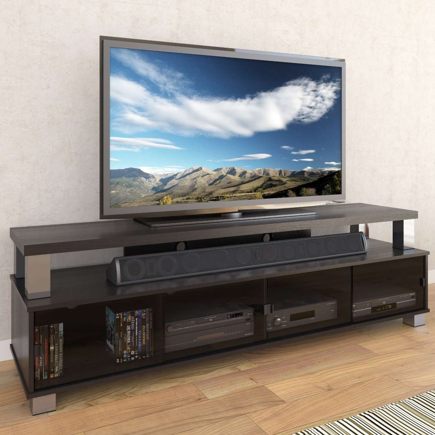 Long Entertainment Center Tv Stand Console Media Cabinet For Flat Pertaining To Long Black Tv Stands (View 10 of 15)