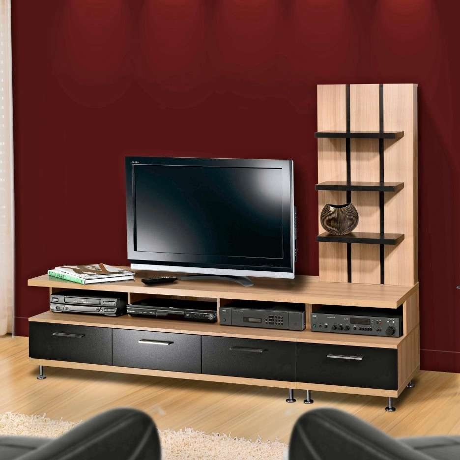 Long Light Brown Wooden Tv Stand With Many Shelves Also Four Black Inside Light Brown Tv Stands (View 15 of 20)