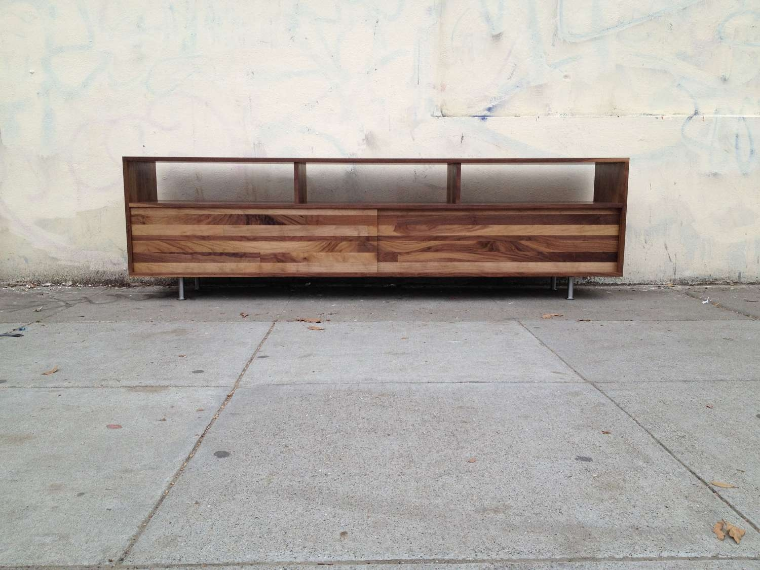 Long Low Mixed Walnut Media Console To Inch Of With Pictures – Artenzo In Long Low Tv Cabinets (View 2 of 20)