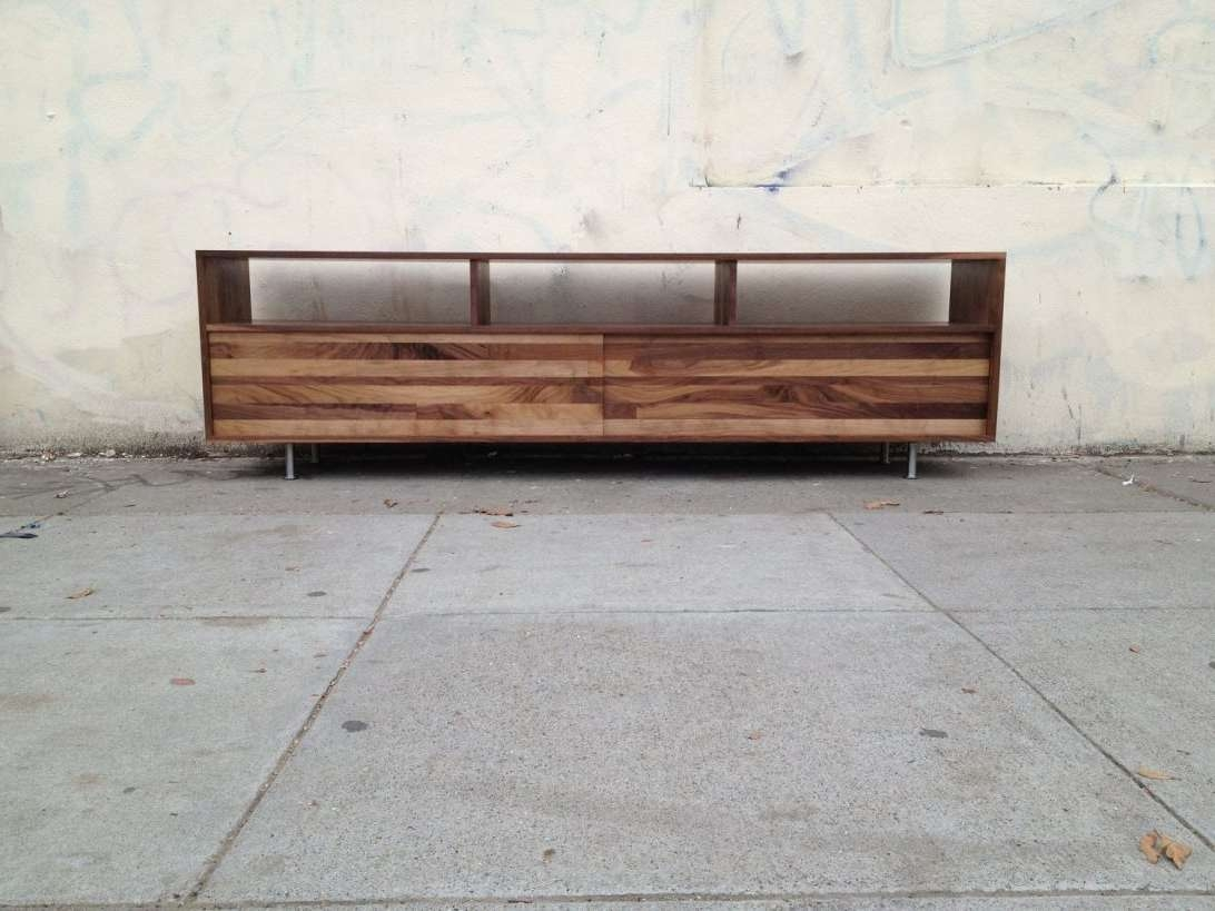 Long Low Mixed Walnut Media Console To Inch Photo With Cool For Long Low Tv Stands (View 7 of 15)