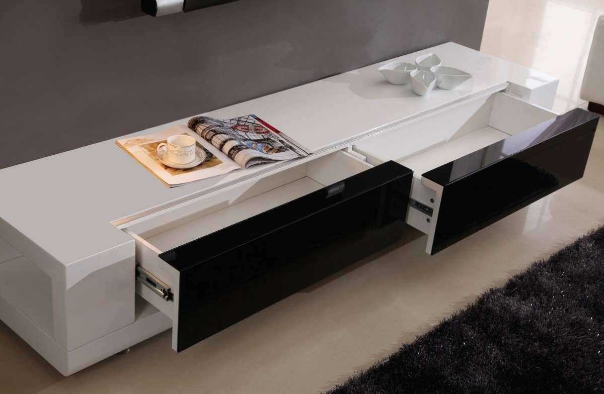 Long Modern Low Profile Plasma Tv Console With Large Double Drawer Pertaining To Low Profile Contemporary Tv Stands (View 7 of 20)