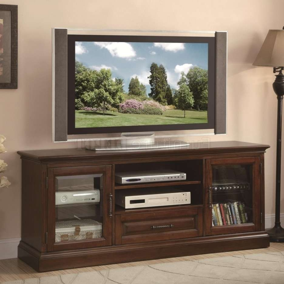 Long Shabby Brown Wooden Tv Stand With Two Shelves Also Drawer Pertaining To Wooden Tv Stands With Glass Doors (View 7 of 15)