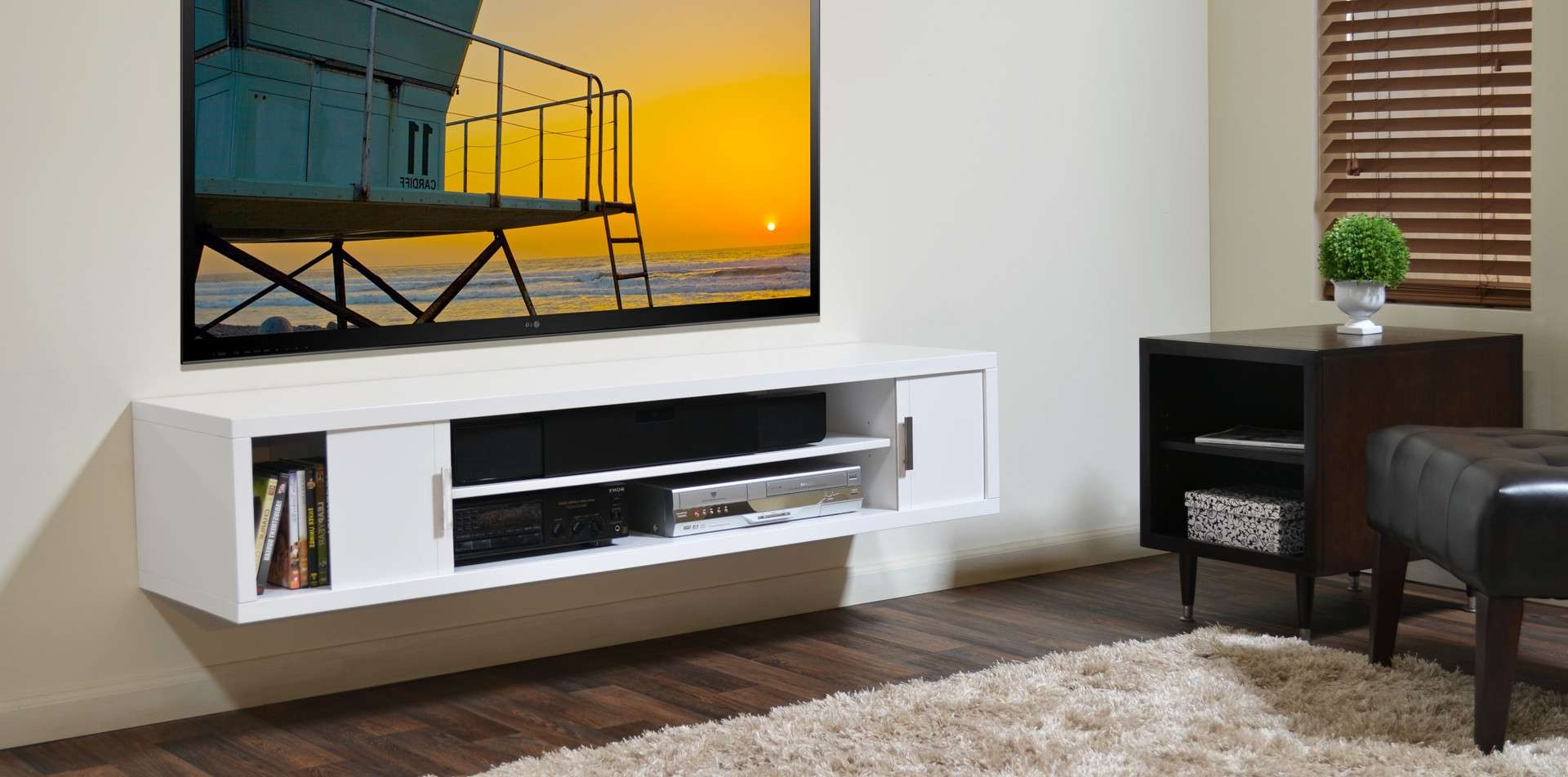 Long Wood Wall Mounted Media Shelf And Cabinet Tv Stand – Decofurnish With Regard To White Wall Mounted Tv Stands (View 6 of 15)