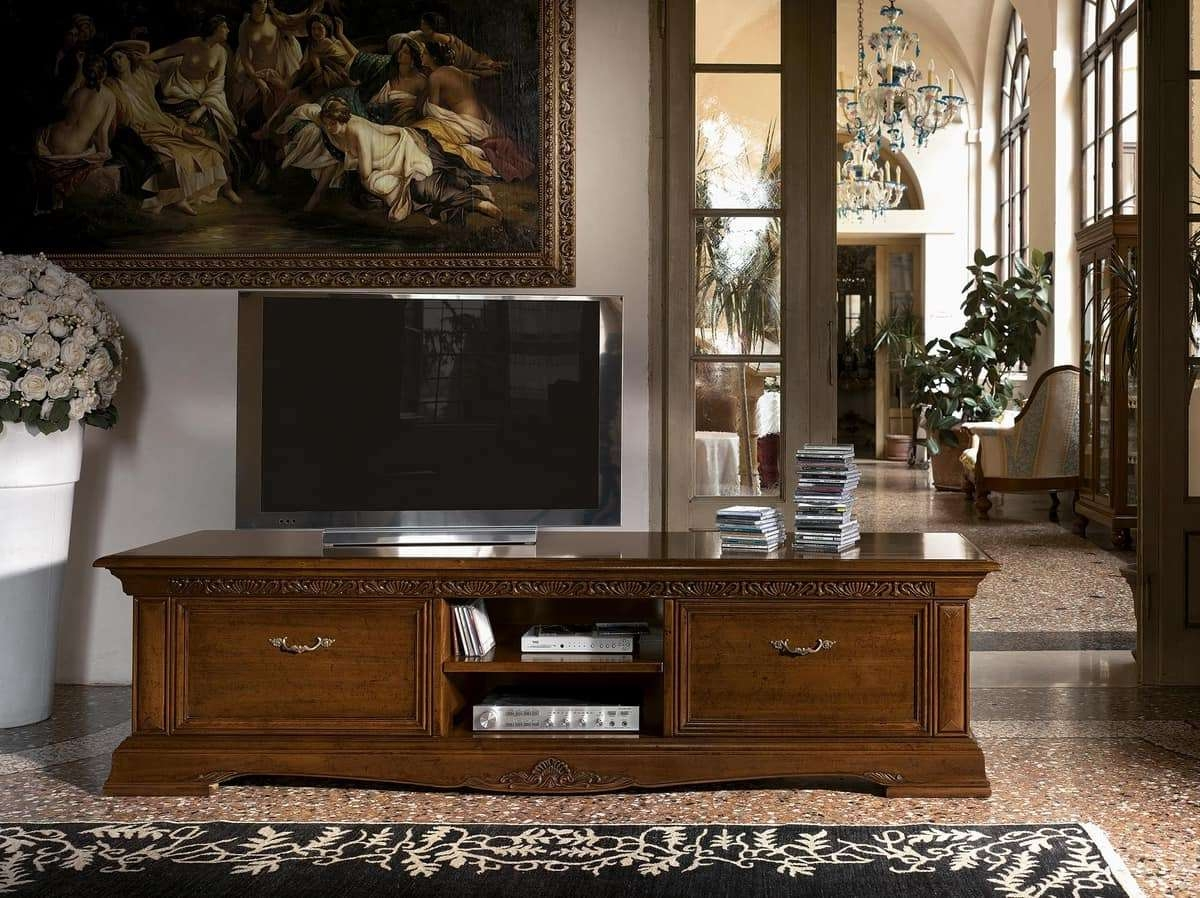 Long Wooden Tv Stand, For Luxury Classic Living Rooms | Idfdesign Regarding Luxury Tv Stands (View 10 of 15)