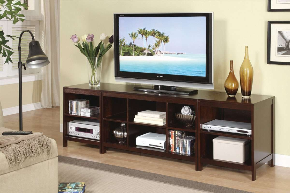 Long Wooden Tv Stand With Open Storage Shelves Feat Down Bridge Within Long Wood Tv Stands (View 7 of 15)