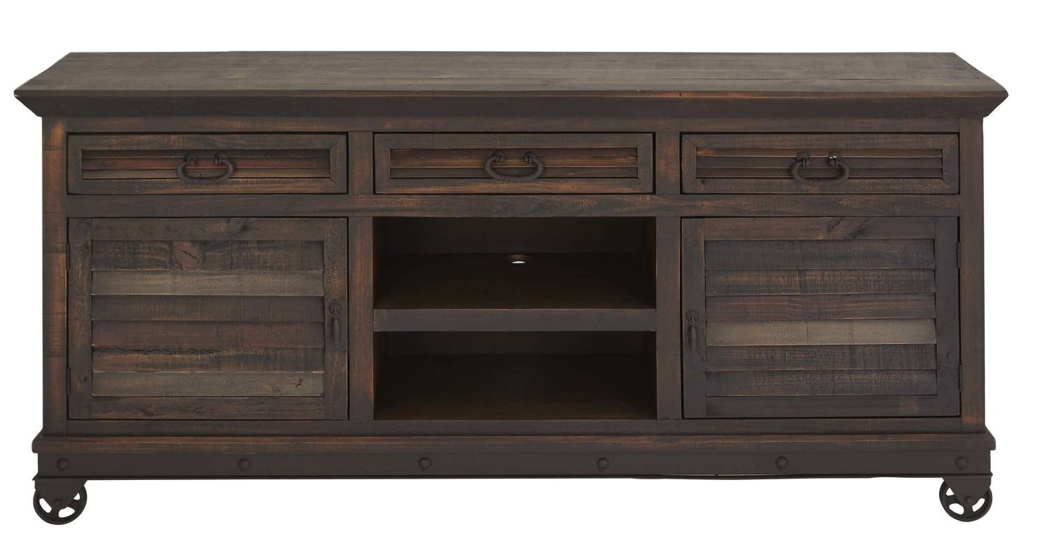 "Loon Peak Bellegarde Rustic Pine Wood Rectangular 72"" Tv Stand Regarding Pine Wood Tv Stands (View 8 of 15)"