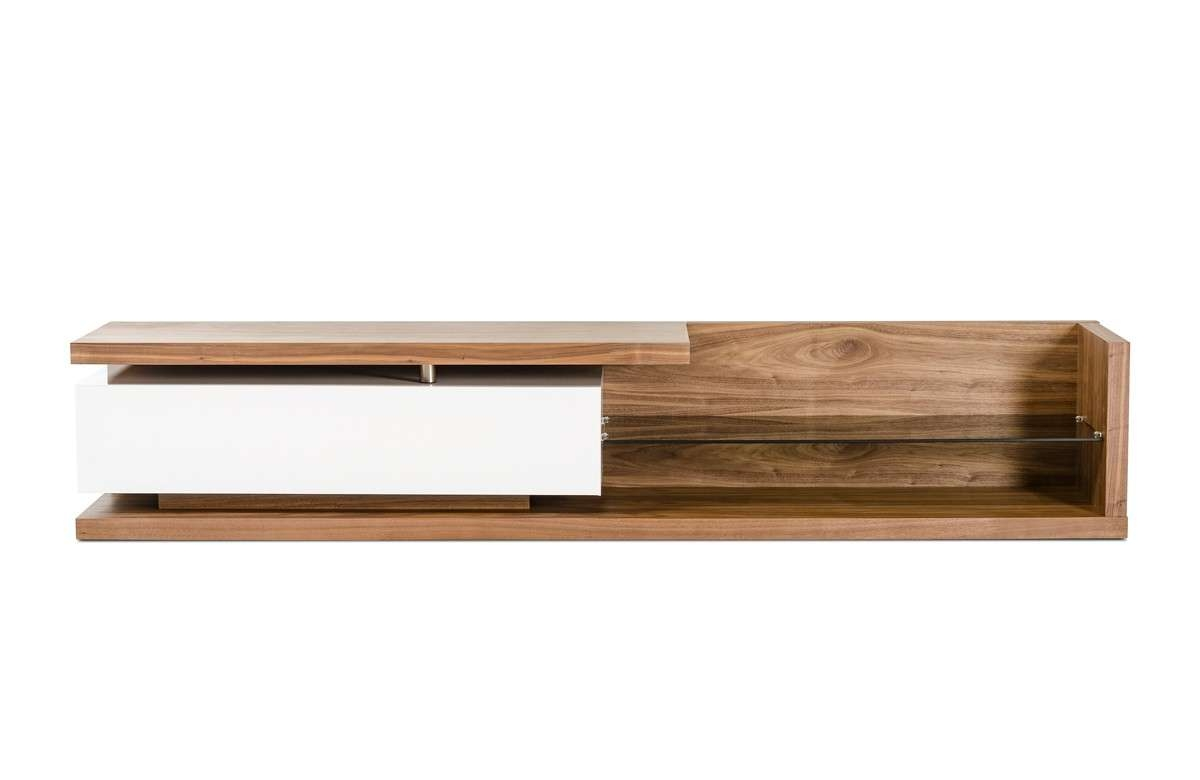 Low Profile Walnut Tv Media Stand With Glass Shelf Philadelphia Within Modern Low Profile Tv Stands (View 11 of 15)