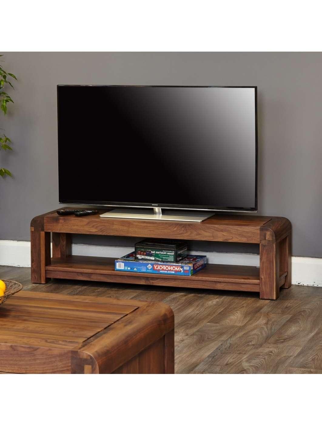 Low Widescreen Tv Stand Baumhaus Shiro Walnut Cdr09A | 121 Tv Mounts For Widescreen Tv Stands (View 7 of 15)