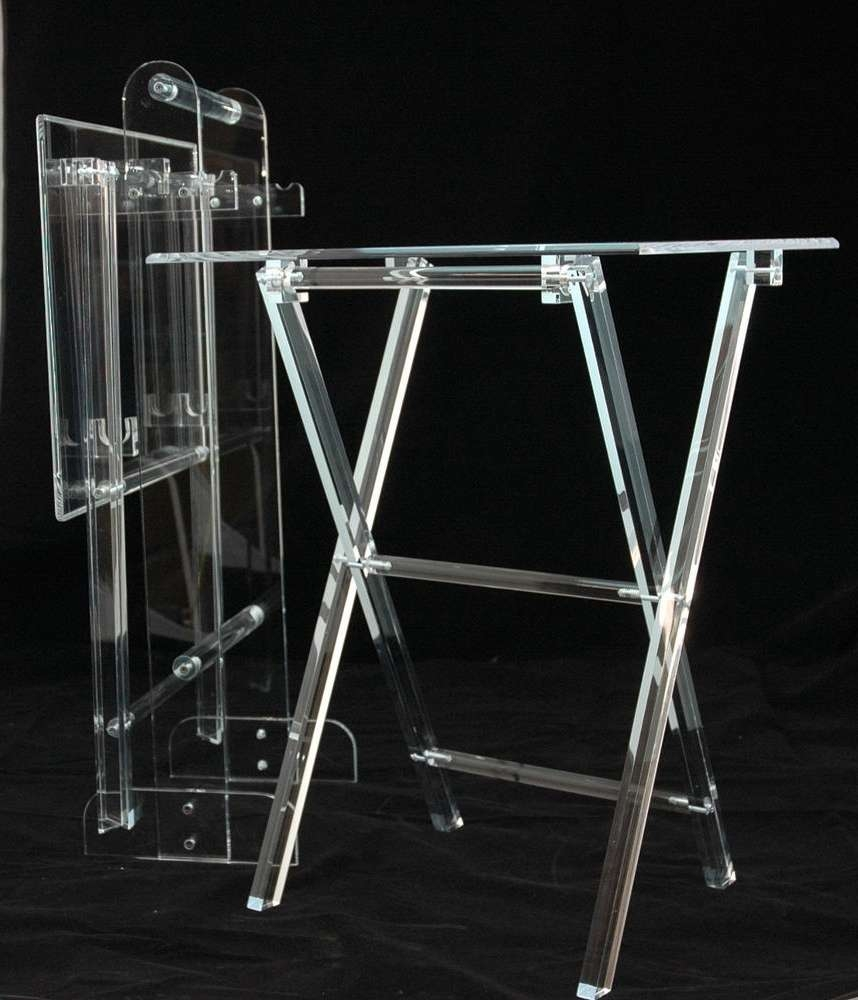 Lucite Tv Trays And Stand Attributed To Charles Hollis Jones Within Clear Acrylic Tv Stands (View 13 of 15)