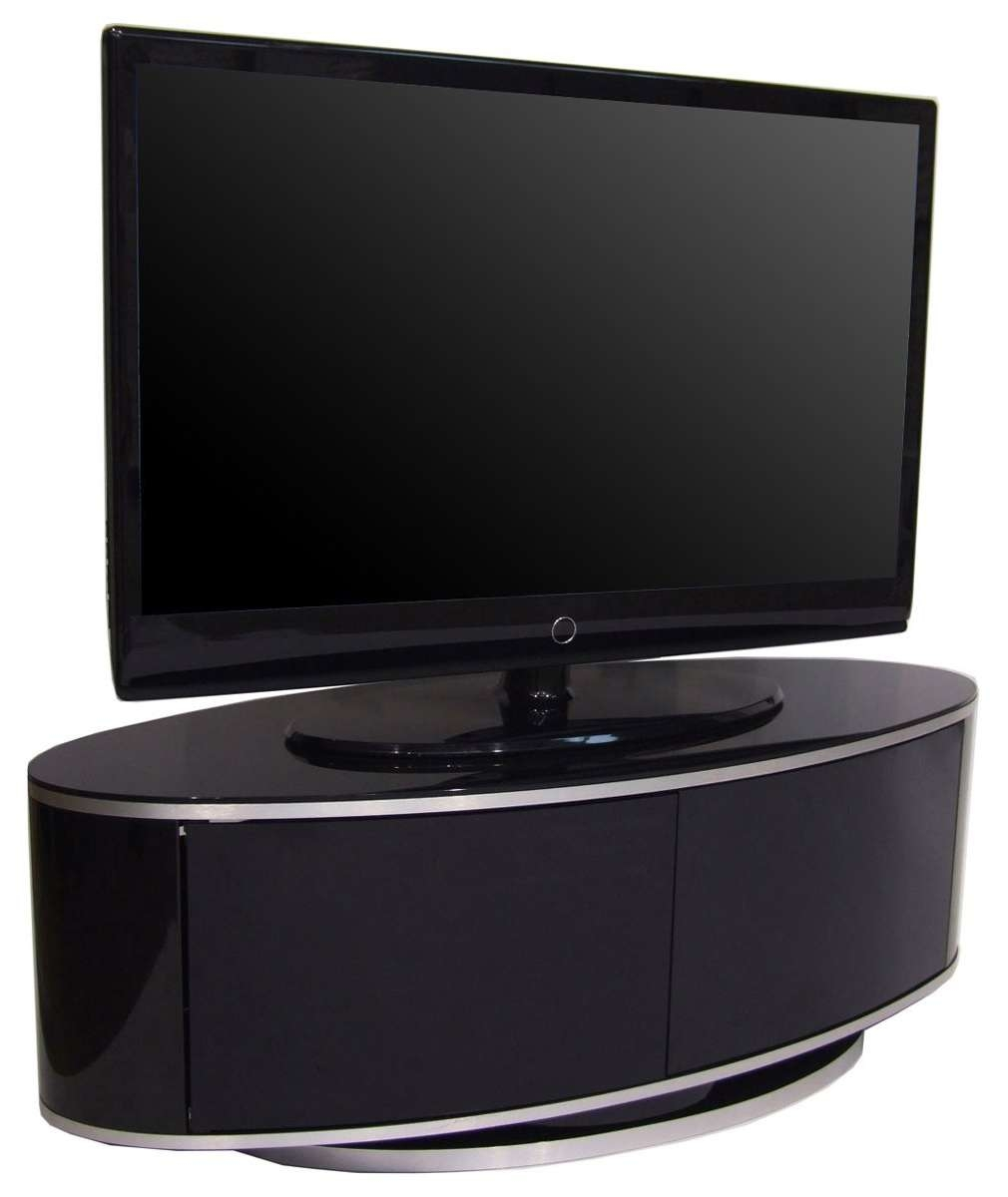 Luna High Gloss Black Oval Tv Cabinet Throughout Shiny Black Tv Stands (View 7 of 15)