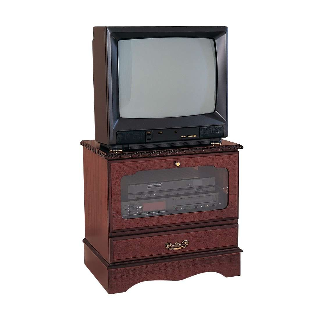 Mahogany Small Square Tv Stand With Drop Flap | Gola Furniture Uk In Square Tv Stands (View 7 of 15)