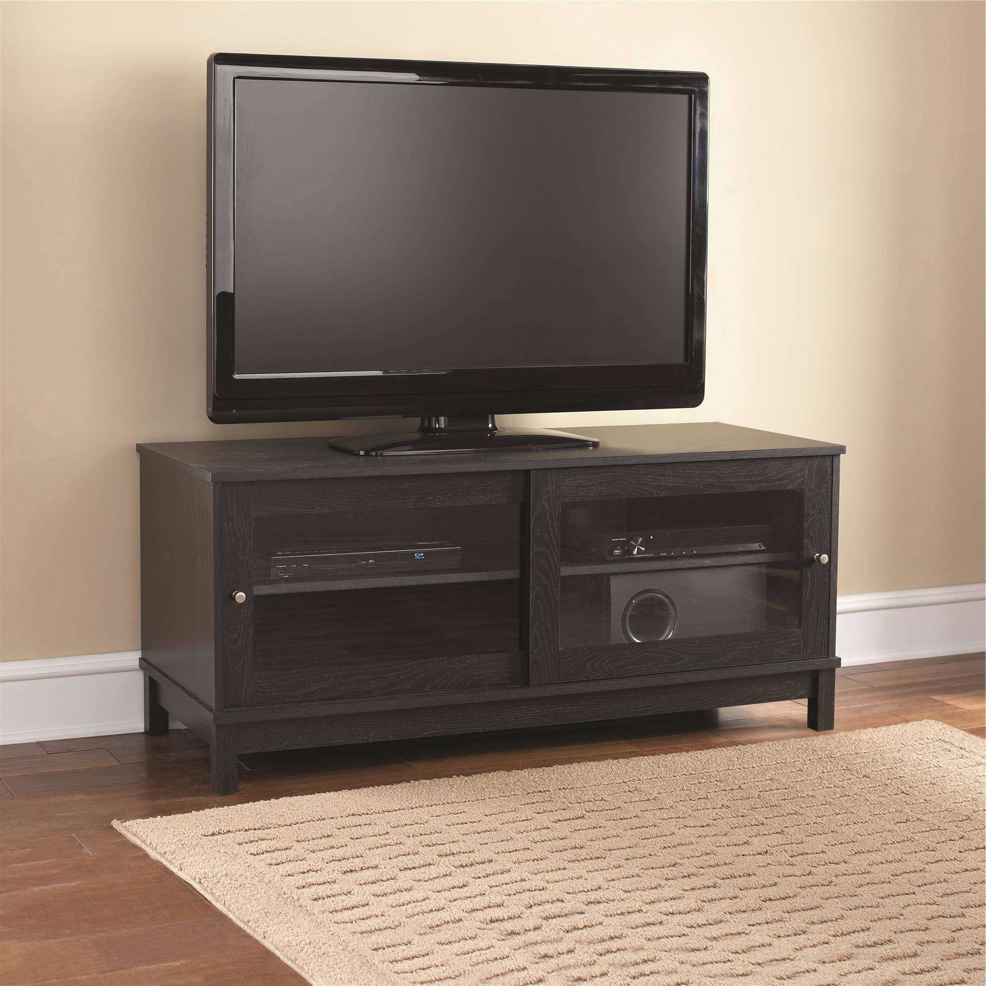 "Mainstays 55"" Tv Stand With Sliding Glass Doors, Black Ebony Ash Intended For Black Tv Stands With Glass Doors (View 1 of 15)"