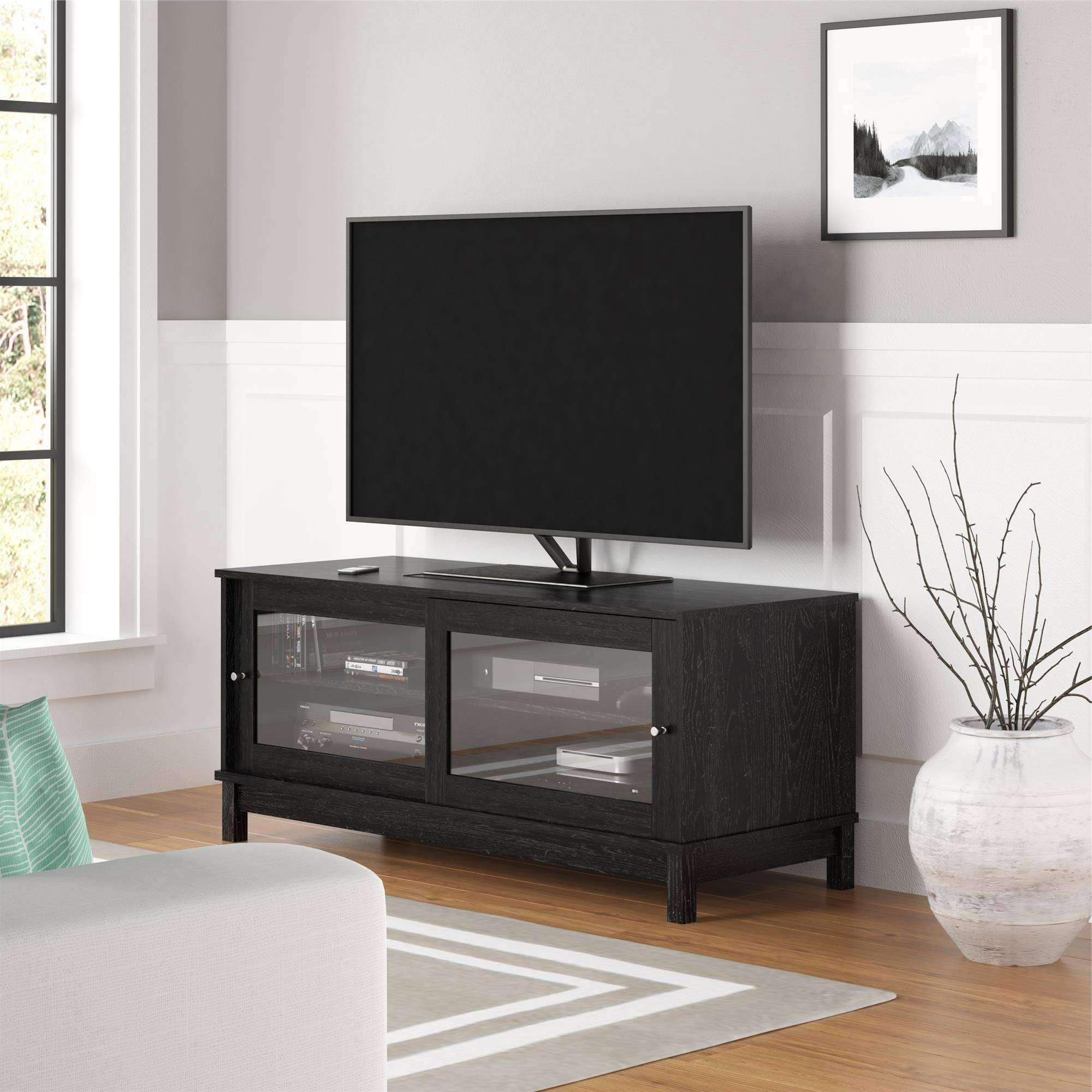 "Mainstays 55"" Tv Stand With Sliding Glass Doors, Dark Gray Oak Pertaining To Black Tv Stands With Glass Doors (View 10 of 15)"