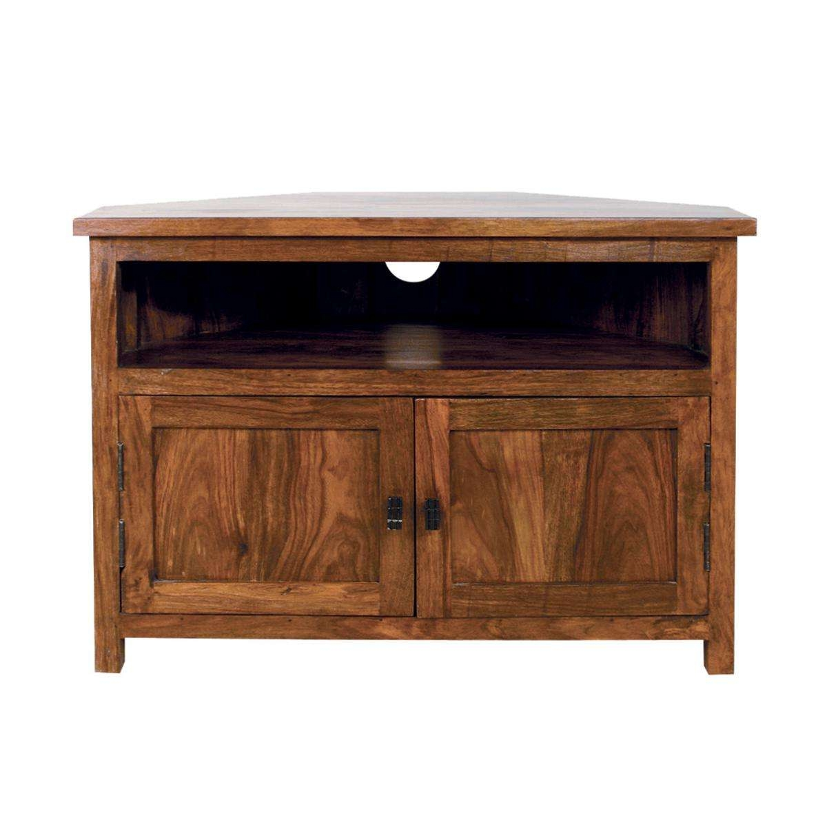 Mallani Sheesham Solid Wood, Contemporary Corner Tv Unit | Ebay Pertaining To Solid Wood Corner Tv Stands (View 14 of 20)