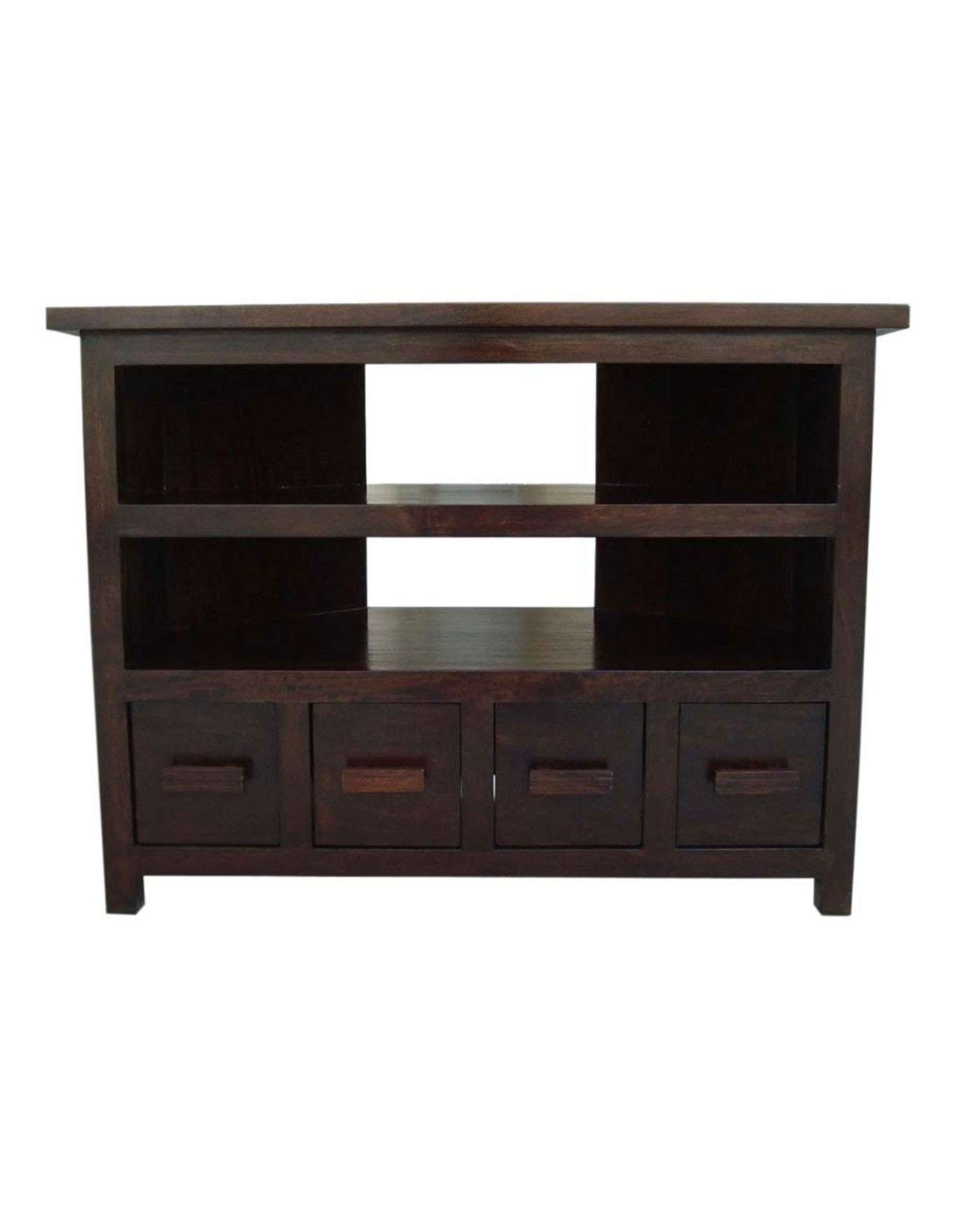Mangat Tall Corner Tv Unit – Homescapes With Dark Wood Corner Tv Cabinets (View 2 of 20)