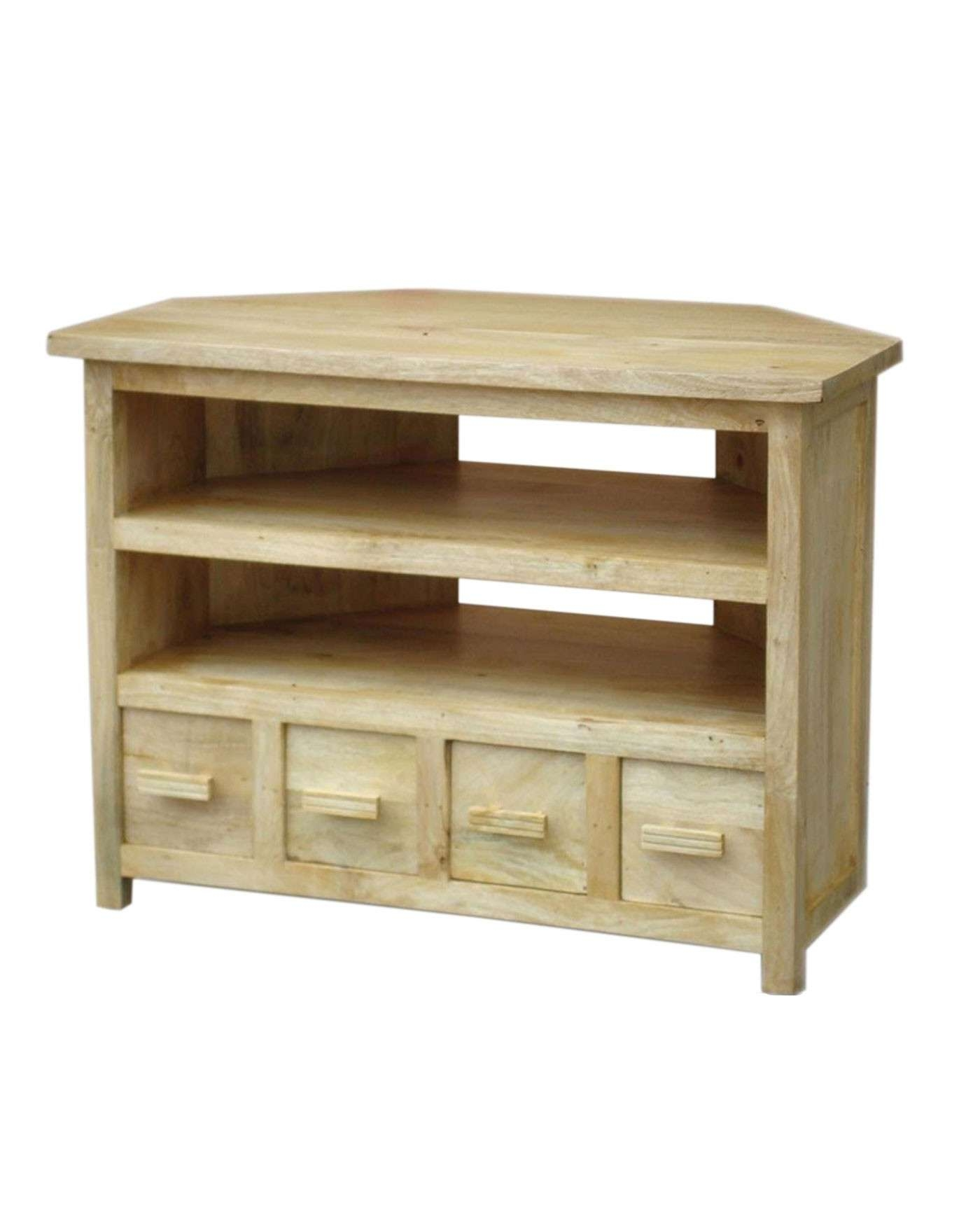 Mangat Tall Corner Tv Unit Oak Shade – Homescapes Throughout Wooden Corner Tv Cabinets (View 5 of 20)