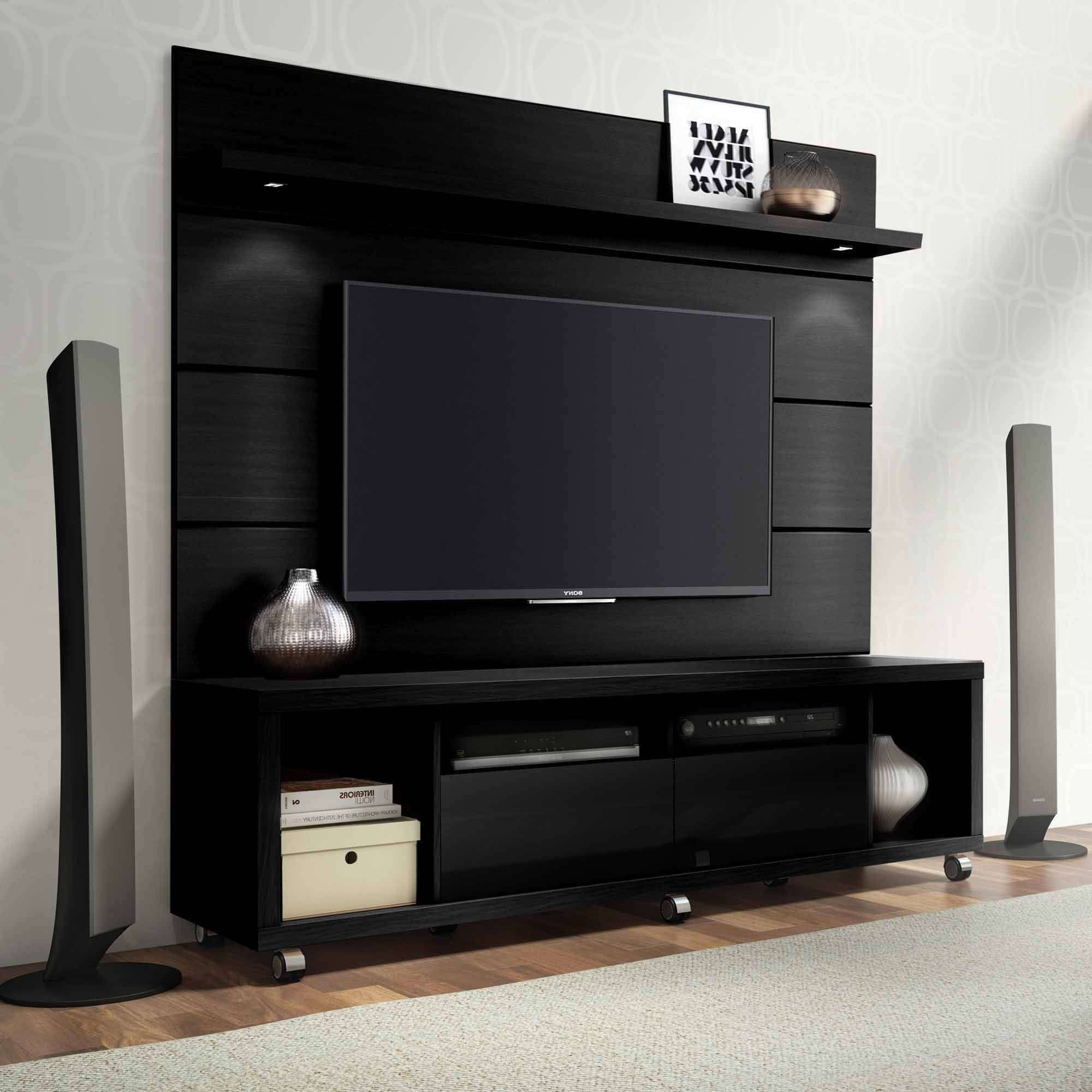 Manhattan Comfort Cabrini Tv Stand And Floating Wall Tv Panel With For Tv Stands With Led Lights (View 7 of 15)