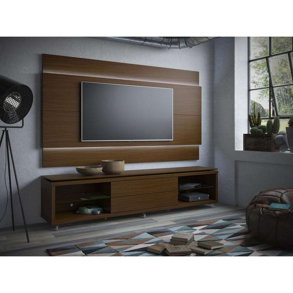 Manhattan Comfort Lincoln Nut Brown Storage Entertainment Center Within Tv Stands With Back Panel (View 8 of 15)